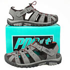 Mens Gents New Toggle & Touch Fastening Grey Red Comfort Walking Trail Sandals