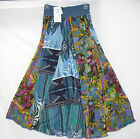 Anu By Natural Fashions Long Skirt 5189 Multi Blue NWT Lined