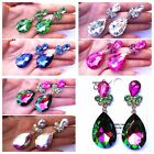 Long AB Vitrail Colors Crystal Earrings ballroom dance pageant prom wedding gem