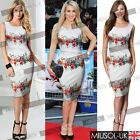 Women's Summer Sleeveless Floral Print Body con Knee Length Pencil Party Dresses