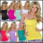 Sexy Ladies Tank Top Womens Summer Casual Strappy Mesh Top One Size 6,8,10,12 UK