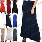 Womens Ladies Plain Stretchy Flared Franki High Waisted Gypsy Long Maxi Skirt