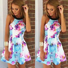 Women Summer Sexy Sleeveless Floral Print Beach Party Cocktail Casual Mini Dress