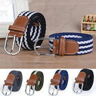 Men Women Classic Elastic Braided Belts Webbing Twisted Leather Cover Waistband