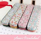 [Hello Spring]Floral Print=Pen Tin Box Pencil Case Metal Container Candy Storage