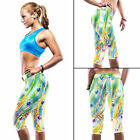 Womens YOGA Running Sports Gym Pants Floral High Waist Cropped Leggings Fitness