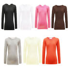 Girls Plain Back to School Top Kids Long Sleeve T Shirt Stretch Fit 2-13 years