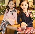 Girls Princess dresses Bow Long Sleeve Shirt+Striped Leggings 2pcs Outfits Set