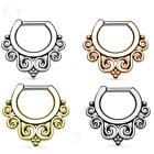 "16G & 14G 1/4"" (6 mm) Tribal Swirls Pattern Surgical Steel Septum Clicker Ring"