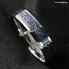 6Mm Silvering Celtic Dragon Tungsten Carbide Ring Mens Jewelry Wedding Band
