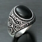 Mens Large Natural Black Oval Onyx Stainless Steel Ring Size 7 8 9 10 11 12-15