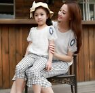 Family outfits Summer Woman girls cotton sets Family t shirt + Plaid pants 1sets