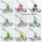 childrens necklace Hello Kitty silver pendant pink blue green yellow kids girls