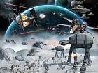 Star Wars AT- AT X-Wing Battle Movie Poster Canvas Wall Art Film Print Sc-Fi