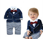 Baby Boy Clothes Kids Long Sleeve Gentleman Romper Bodysuit Outfit Clothing Set