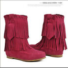 Womens Curve Ankle Boots Tassel Fringe Boots Hidden Low Heel Casual Shoes Size