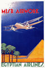 Vintage Art Deco 1930s Aviation Poster Egypt de Havilland Dragon Rapide Pyramids