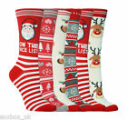 1 Pair Ladies Festive Christmas Socks Size 4-8 Uk, 37-42 Eur, 5-9 Us - 5 Designs