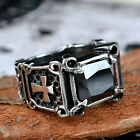 Men's Vintage Crusader Templar Cross Black Onyx Gemstone Stainless Steel Ring