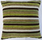 Twinkle Chenille Green / Brown / Cream Stripe Cushion Cover Come's In 2 Sizes