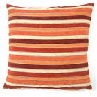 Twinkle Chenille Orange / Red / Cream Stripe Cushion Cover Come's In 2 Sizes