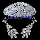 Clear Swarovski Crystal Rhinestones Peacock Tiara & Earrings Clip On Bridal Set