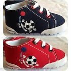 BABY BOYS CANVAS FOOTBALL TRAINERS BOOTS PRAM SHOES, BLUE OR RED, 0 - 12 MONTHS