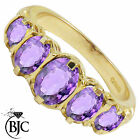 BJC® 9ct Yellow Gold Victorian Style 2ct Amethyst 5 Stone Ring Sizes K - V