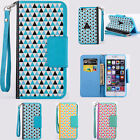 Triangle Patterned Flip Soft  Card PU Leather Cute Phone case Cover For iPhone