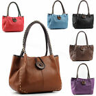 New Lady Trendy Designer Boutique Faux Leather Large Button Detail Shoulder Bag