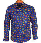 Claudio Lugli Mens Long Sleeve GOLDEN GIRL PRINT SHIRT Blue