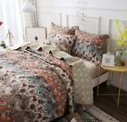 DaDa Bedding Vibrant Bohemian Garden Paisley Floral Quilt Coverlet Bedspread Set image