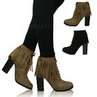 New Ladies Womens Mid High Block Heel Shoes Lace Up Fringed Ankle Boots Size 3-8
