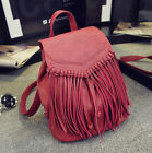 Women's Small Mini Faux Leather Tassels Backpack Rucksack Purse Casual bag Cute