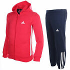 adidas Essentials 3 Stripe Kids Hooded Jogger Tracksuit Red/Navy