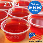 3 1/4 oz Extra Large Jello Jelly Shot Portion Cups w/ Lids Option, Clear Plastic