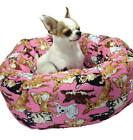 Round Pet Bed Chihuahua Novelty Handcrafted Group One Dog Gallery Washable