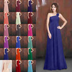 One Shoulder Bridesmaid Dress Long Prom Wedding Gowns Party Evening Formal 6-26