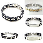 New Mens Stainless Steel Bracelet Bangle Chain Black Rubber Wristband Gift 8.5""
