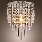 Wall Sconce Fixture Crystal Metal Lamp Light Home Decor Lighting Chrome Finished