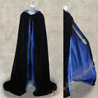 New Black/Blue Capes MEDIEVAL Hooded Cloaks Halloween Wedding Shawl Sca S-6XL