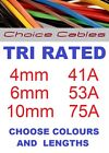 Tri Rated Cable 4.0mm, 6.0mm, 10mm Automotive Cable, 240v Cable, 12/24v Auto