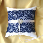 WEDDING RING BEARER PILLOW/WHITE/IVORY&NAVY&SNOWFLAKE/20cmx20cm/8.0'' x 8.0''