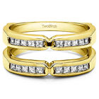 X Design Jacket Ring Enhancer in Gold or Silver with Diamonds, Moissanite & More