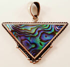 STERLING SILVER HAND CRAFTED MOTHER OF PEARL SHELL PENDANT. ARROW HEAD DESIGN.