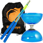 Blue Cyclone Quartz 2 Triple Bearing Diabolo, Blue Superglass Sticks & Bag