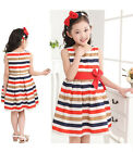 Summer Baby Kids Girl Clothes Toddler Princess Pageant Party Tutu Stripe Dress