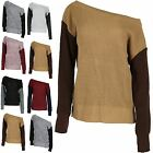 Womens Off the Shoulder Jumper Contrast Sleeve Ladies Chunky Knit Oversized Top