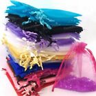 50 100 ORGANZA GIFT BAGS Candy Sheer Jewellery Pouches Wedding Xmas Party Decor