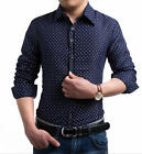 Men's New Stylish Star Printed Long Sleeve Slim Fit Business Dress Casual Shirts